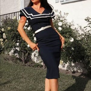 Bettie Page 'CAPTAIN' Vintage Wiggle Dress size S